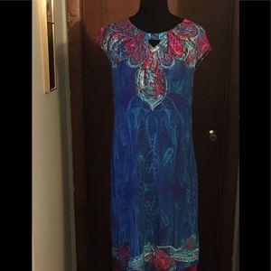 Chicos Paisley Dress Size 1 Medium Knee Length